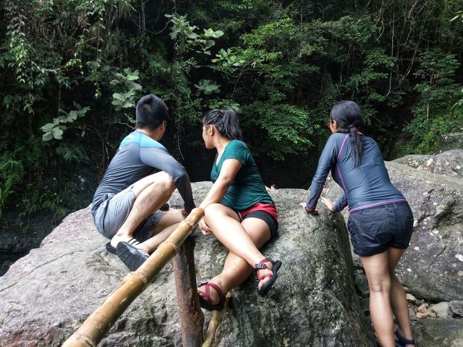 Togetherness Sitting Day Tree Leisure Activity Casual Clothing Friendship Outdoors Real People Men Relaxation Adult People Women Nature Bonding Adults Only Adventure Connected By Travel EyeEm Phillipines Water Waterfalls Waterfalls In Philippines Freshness Direction