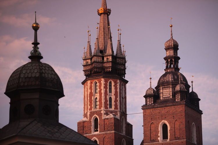 Low Angle View Of St Mary Basilica Towers Against Sky