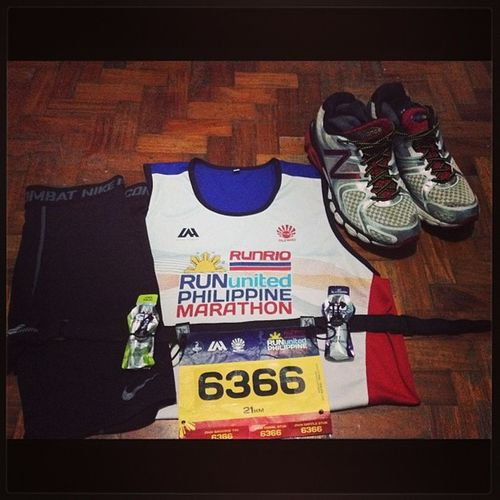 All set for tomorrow's run. Motivated First21km Halfmarathon Gamefaceon RUPM ????