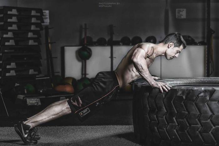 Training hard. Gym Training Model Fitnessmodel Fitness Training Fit Fitness Male PushUp Strong Muscles
