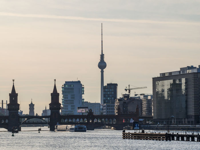 Skyline Of Berlin With Oberbaumbrücke, Television Tower And River Spree