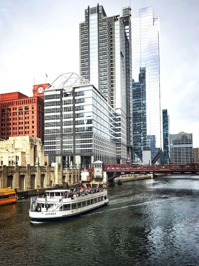 It's so cold, but the tour boats are back! Chicago Architecture Chicago Cold Bridge River Cityscape City Built Structure Building Exterior Architecture City Water Sky Building