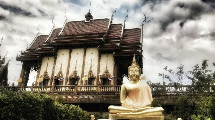 Architecture Beauty In Nature Building Exterior Built Structure Cloud - Sky Day Human Representation Low Angle View Nature No People Outdoors Place Of Worship Sculpture Sky Spirituality Statue Temple Thailand Tree