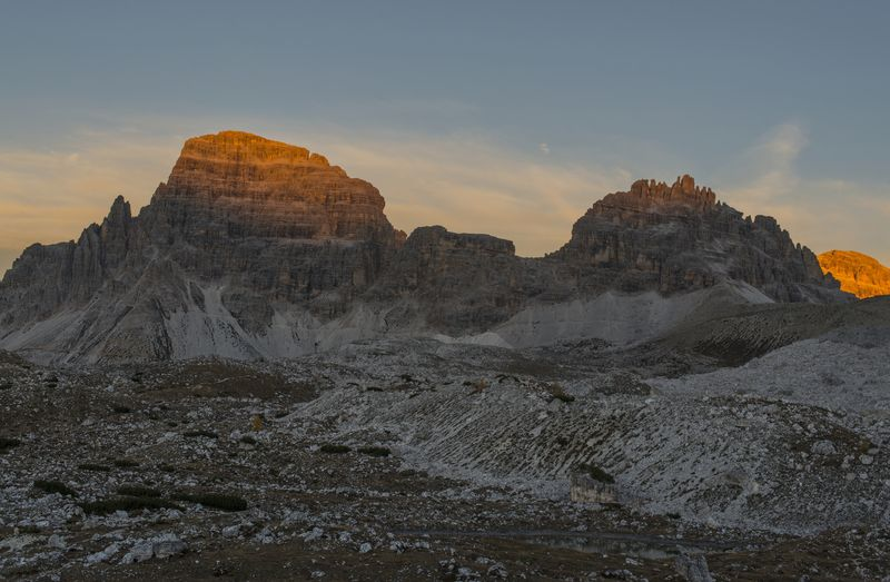 Idyllic shot of rocky mountains against sky during sunset