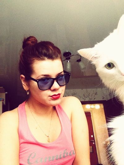 Selfiewithcat Self Portrait Girl Glasses Cat