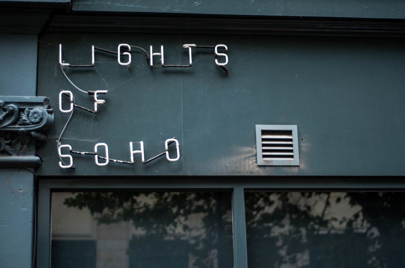 London Reflection Sign Soho Architecture Building Exterior Close-up Communication Day Neon Sign No People Outdoors Switched Off Text Unseen London Vent