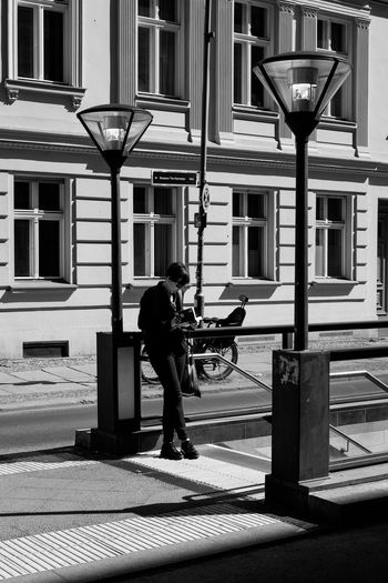 Architecture Berlin Blackandwhite City City Life Contrast Day Deutschland Full Length Germany Lifestyles Monochrome Outdoors People People Watching Reading Stairs Street Street Photography Streetphoto_bw Streetphotography Subway Travel