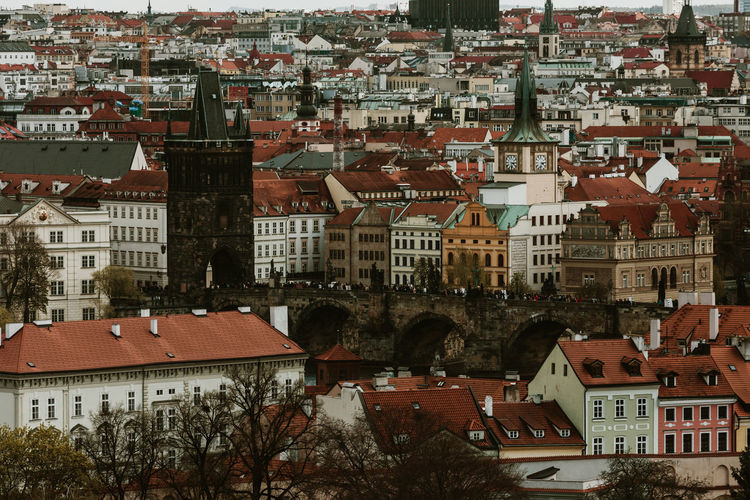 Architecture Built Structure Building Exterior City Building Residential District Crowd Cityscape Crowded Roof Town Day High Angle View Snow Outdoors Winter Nature Travel Destinations Full Frame Place Settlement Apartment Prague Prague Czech Republic