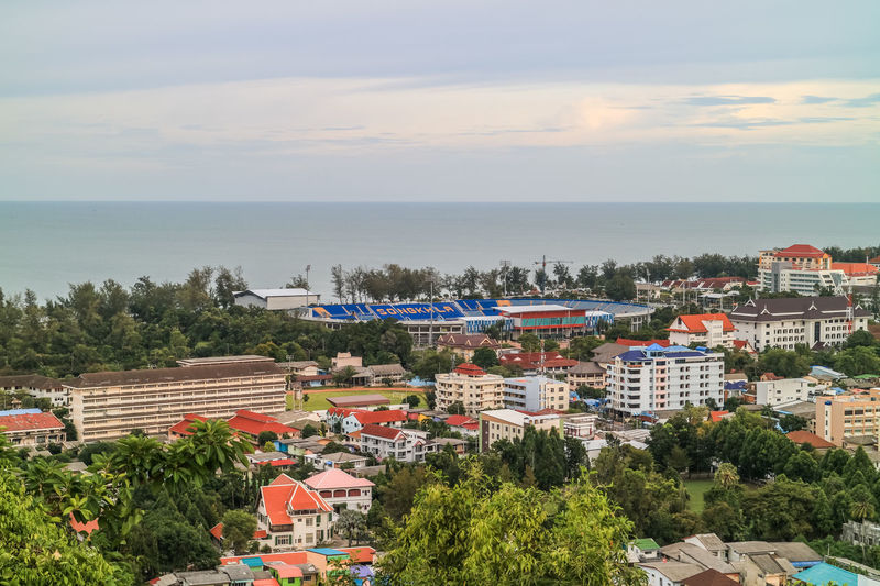 cityscape Songkhla Thailand Songkhla Songkhla Province City View  CapitalDistrict Sea Horizon Over Water High Angle View Beach Outdoors Day Building Exterior Sky Town Built Structure Multi Colored Landscape Cityscape City