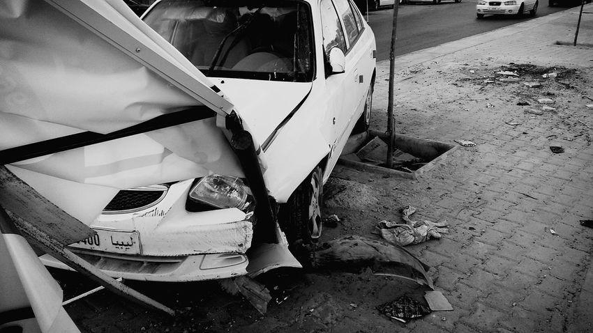 Car Accident Street Libya Misrata
