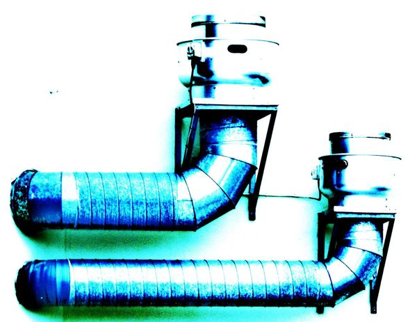Hanging Illuminated Meytallic Multi Colored No People Outside Pipes Industrial Heating Vent Colourful Blue Still Life