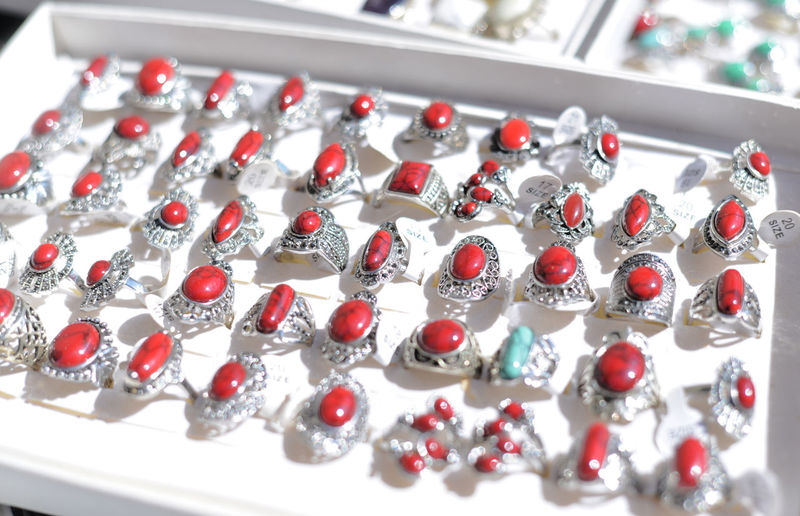 High angle view of rings for sale