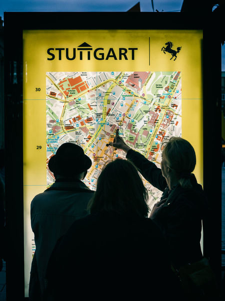 Analogue City City Map Communication Finger Map Night OldSkool Showing Silhouette Stuttgart Text Togetherness Tourists Unknown Area Visitors Women Yellow