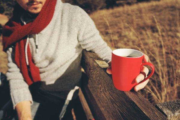 Cup Mug Drink Refreshment Coffee Cup Coffee Food And Drink One Person Coffee - Drink Holding Red Day Focus On Foreground Hot Drink High Angle View Real People Crockery Nature Adult Outdoors Warm Clothing Tea Cup