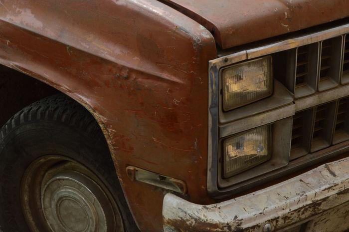 Old Van Close-up Outdoors Rusty Tire Transportation Van