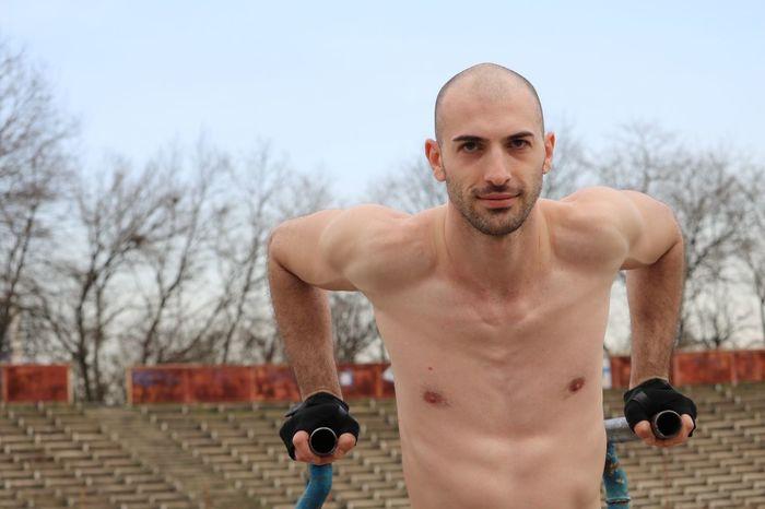Slim boy exercising outside Sportsman Sports Photography Man Exercising Outside Outdoor Sport Topless, Boy Guy