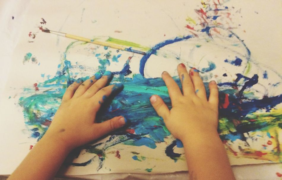 Person Leisure Activity Creativity Painting Personal Perspective Messy Multi Colored Hands Children Childhood Finger Painting Fingers