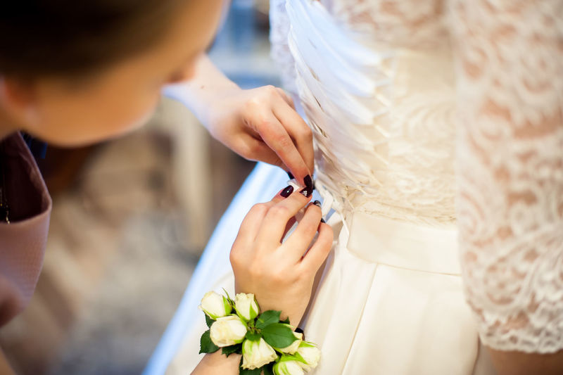 Bride Childhood Close-up Cutting Day Holding Indoors  People Real People Two People Wedding Dress
