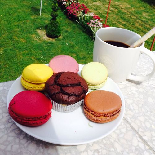 Coffee At Home On A Clean Terrace With Macarons View Over My Garden