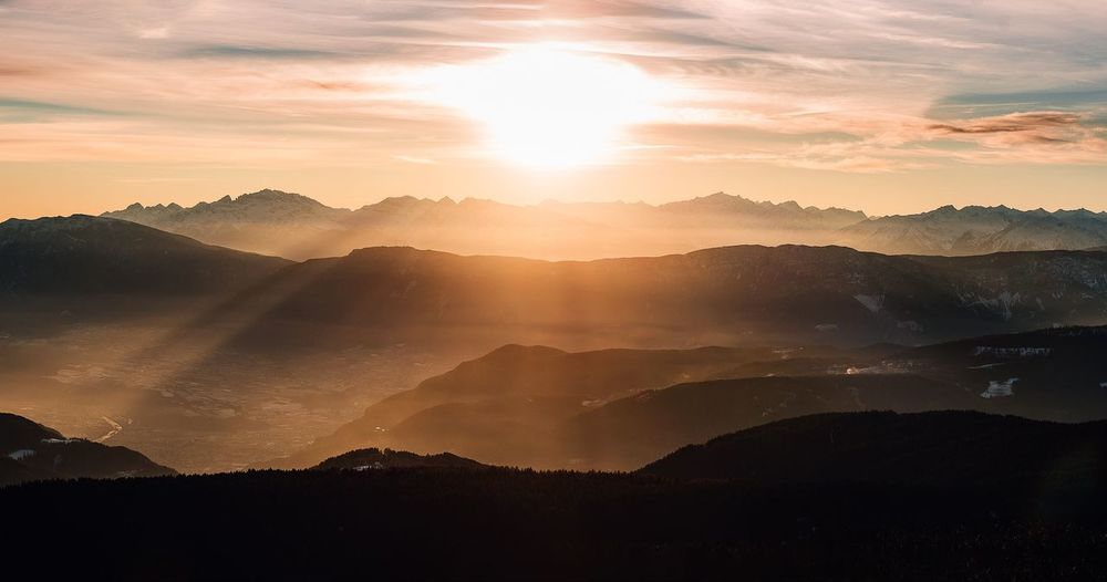 Sunsets prove endings can be beautiful. Sunsets Sunrise Panorama Nophotoshop Nikon D750 Italy Sun Flare Sunflare Nikon Awesome Contrast Sunset_collection Sunrise_sunsets_aroundworld Warm Photography EyeEm Selects Mountain Landscape Sunbeam Nature Sun Fog Sunlight Beauty In Nature No People Sunset Outdoors Cloud - Sky Sky Day