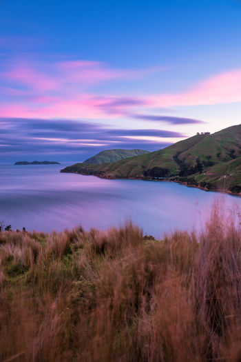 Beautiful sunrise over Marlborough Sounds Flow  Grass Hills Travel Beauty In Nature Cloud - Sky Dawn Idyllic Landscape Long Exposure Motion Mountain Nature New Zealand No People Ocean Outdoors Scenics - Nature Sea Sky Sunrise Tranquil Scene Tranquility Travel Destinations Water