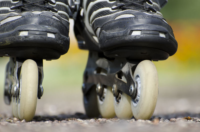 Rollerblade Standing Sunny Wheel Close Up Close-up Color Day Equipment Focus On Foreground Full Frame Low Section No People Outdoors Rollerblade Sport Sport Equipment Transportation