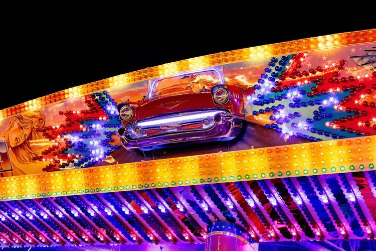 The Funfair EyeEm Best Shots First Eyeem Photo Hello World EyeEm Selects Kirmes Funny Spaß Fun LED Lights Autoscooter Funfair Illuminated No People Multi Colored Pattern Night Close-up Indoors  Glowing Creativity Transportation Art And Craft Lighting Equipment Motor Vehicle Metal