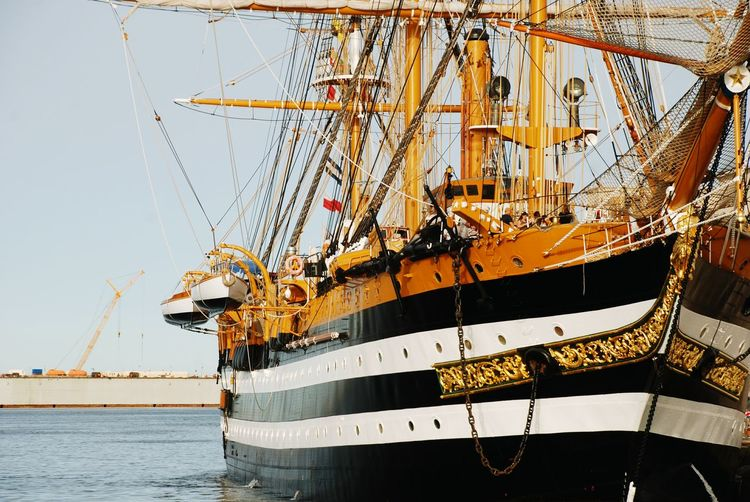 Amerigo Vespucci Sun Lights Yellow History Ancient Water Nautical Vessel Transportation Mode Of Transportation Ship Sea Sky Nature No People Day Outdoors Sailing Sailboat Sailing Ship Clear Sky Sunlight Travel Architecture Cruise Cruise Ship