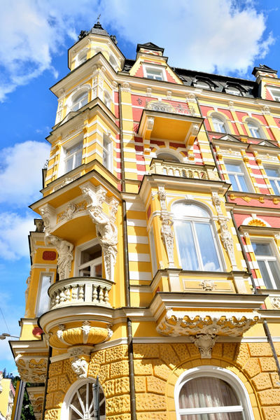Architectural Feature Architecture Balcony Building Exterior Built Structure Check This Out City Cloud - Sky Czech Republic Façade Historic History Low Angle View Nikon Nikon D5200 Nikonphotography Old Town Ornate Outdoors Sky Sunlight The Past Townhouse Window Yellow The Architect - 2017 EyeEm Awards Paint The Town Yellow