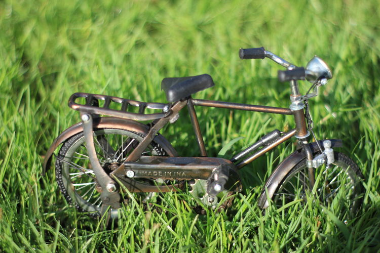 Aceh Grass Plant Transportation Green Color Mode Of Transportation Day No People Nature Field Land Land Vehicle Outdoors Growth Bicycle Stationary Selective Focus Metal Wheel Travel Old