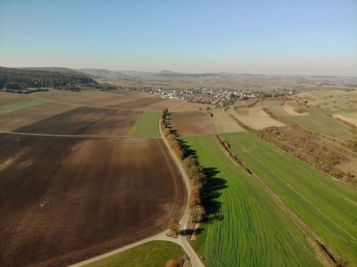 Landscape Dronephotography Droneshot Tafelberg Ries Agriculture Field Sky Landscape Farmland Patchwork Landscape Cultivated Land