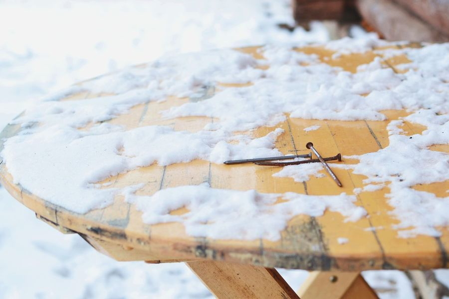 Close-up Cold Temperature Day No People Outdoors Rusty Nails Snow Table Winter Wood - Material