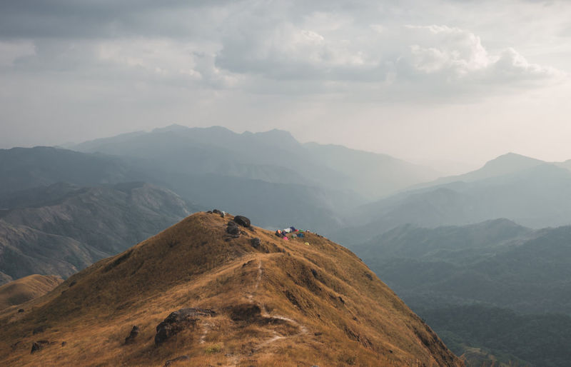 Panorama scenic mountain peaks and ridges stretching during the evening.at mulayit taung in myanmar.