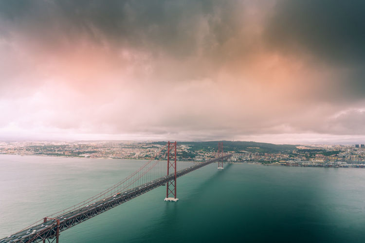 Panoramic view of bridge over sea against sky