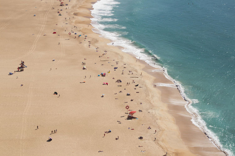 The beach of Nazaré seen from above - Portugal Nazaré  Portugal Land Beach Sea Water Sand High Angle View Beauty In Nature Nature Wave Scenics - Nature Tranquility Day Sport Holiday Group Of People Sunlight Tranquil Scene Aquatic Sport Outdoors Motion View From Above From Above