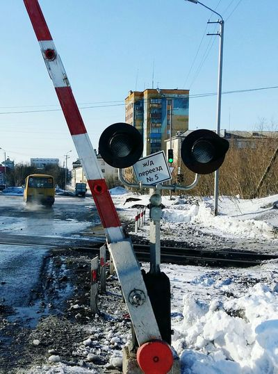 RZD зима❄️ РЖД Water Cold Temperature Winter Snow Safety Sky Railway Signal Railroad Crossing First Eyeem Photo