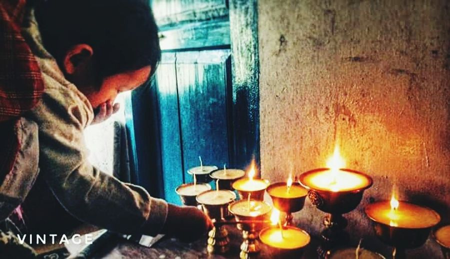so small, yet so big Candlelight Bhutanese Religious  Butterlamps Flame
