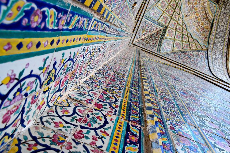 Colorful Tiling Ancient Architecture Travel Photography Iran♥ Prespective Guide Lines Architecture Old Buildings Shiraz🍷