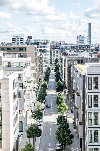 Hafencity, Blick in die Straßen Hafencity Hafencity Hamburg Hamburg Hamburg Meine Perle Modern Modern Architecture Architecture Building Exterior Built Structure City Cloud - Sky Hamburg My Love💖 Modern Living No People Road Sky