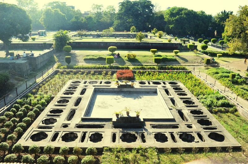 High angle view of statue in garden