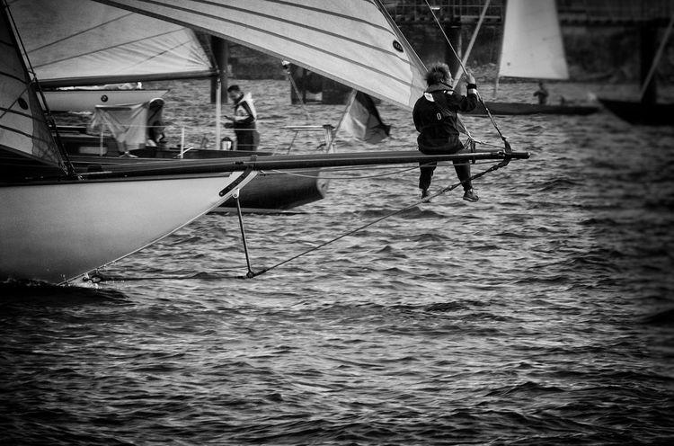 Blackandwhite Classic Boats Men Nautical Vessel Racing Regatta Sailing Water Yacht