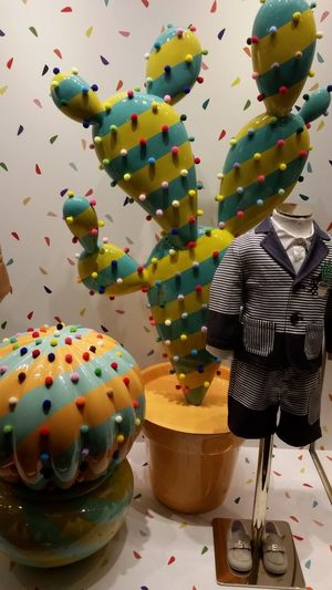 Art Is Everywhere Multi Colored Indoors  Fashion Photography Artistic Installations Beautifully Organized Via Condotti Italy Rome Children Clothing Clothing Store Cactus Colors Colorful Sweets Like Objects