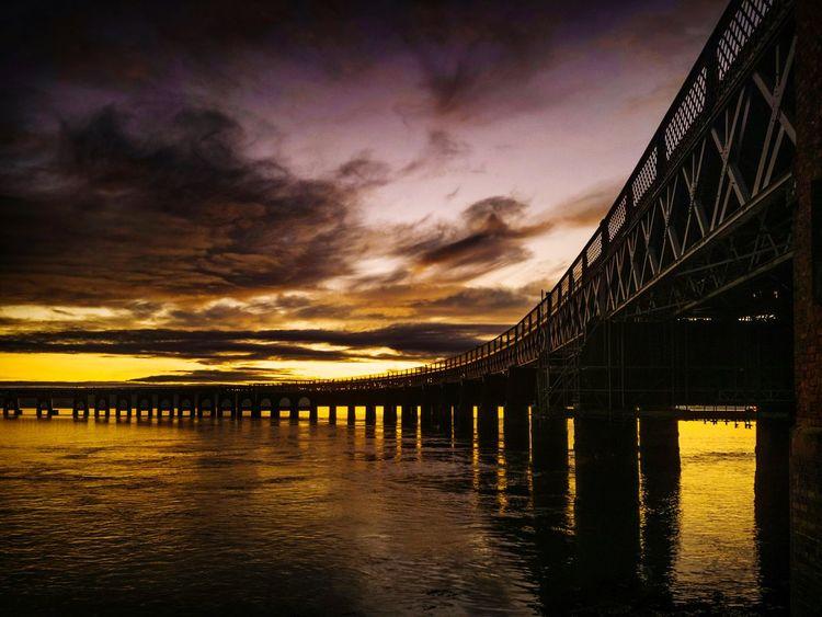 Tay Rail Bridge Water Sunset Sea Cloud - Sky Sky Outdoors No People Nature Beauty In Nature Day Bridge Tay Bridge Dundee VisitScotland EyeEmNewHere
