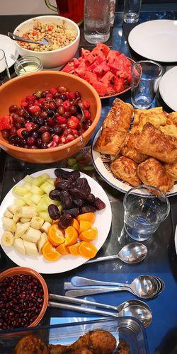 Iftari Dinner Pakoras Fruit Dates Food, Variation Choice Table Food And Drink