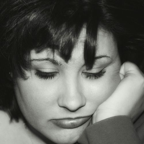 Close-up of depressed young woman
