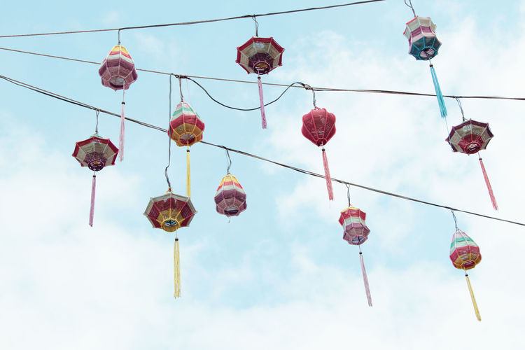Vietnamese Celebration Chinese Lantern Festival Chinese New Year Cloud - Sky Colorful Decoration Festival Hanging Lantern Low Angle View Multi Colored Sky