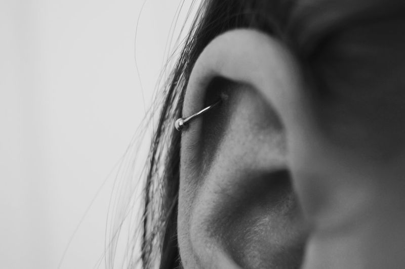 piercing Ear Piercings EyeEmNewHere Real People Human Body Part One Person Close-up Human Face Hair Women Human Hair Long Hair