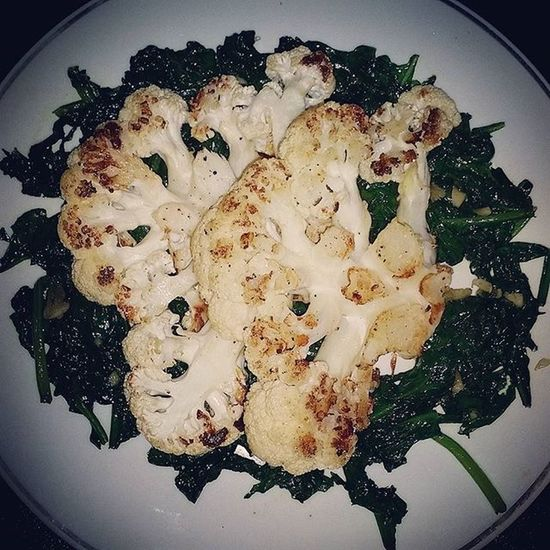 Cauliflower steaks on a bed of spinach. Vegetarian Yum Eatclean Vegan Veg EATGREEN Glutenfree