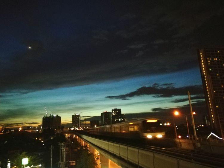 Sky Outdoors Transportation Skytrain Traveling Train Travel Train Line Night View Night