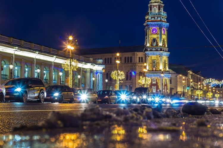 Nevskiy Prospekt Saint Petersburg Night Illuminated Architecture Building Exterior Built Structure Building City Decoration Christmas Lights Lighting Equipment No People Outdoors